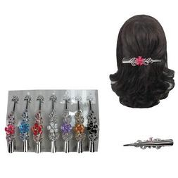 6pcs Flower Hair Clip Clamp Metal Alligator Claw Bling Cryst