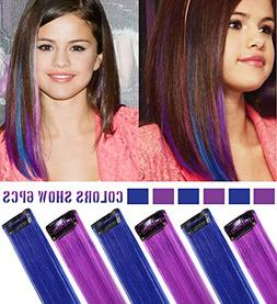 MQ 6PCS Purple Blue Hair Accessories Wig Pieces Clip In/On M