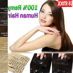 7A 100% Clip in Remy Human Hair Extensions Full Head Weft 14