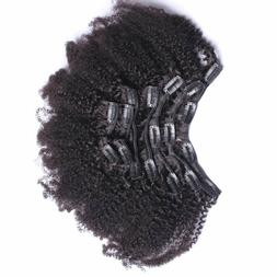 7A 4B 4C Kinky Curly Clip In Human Hair Extensions 7Pc Natur