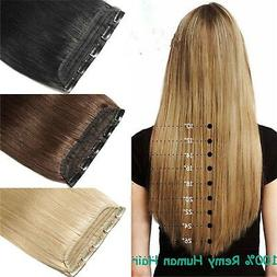 7A+ Queen Thick 5Clips One Hairpiece Clip In Real Human Hair