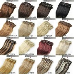 7A+ Virgin Remy Clip In Real Human Hair Extensions Full Head