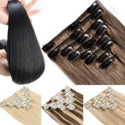 7PCS Premier Human Hair Clip In 100% Remy Real Hair Extensio