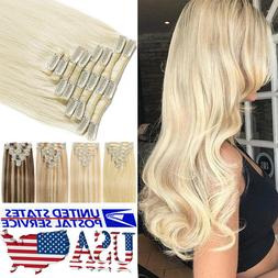 "8""-24"" 100% Real Remy Full Head Clip In Human Hair Extension"