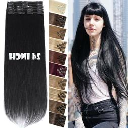 """8""""-24"""" Clip In Weft Remy Human Hair Extensions Full Head Str"""