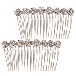 Frcolor 8-Flower Hairpin Combs Crystal Rhinestone Bridal Hai