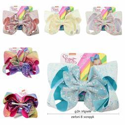 8 inch JOJO SIWA Large Girls Kids Sequin Bow Rainbow Bowknot