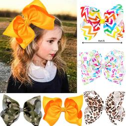 8 Inch Large Girls Hair Bows Grosgrain Ribbon Knot Large Wit