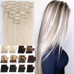 8A Bleach White Clip In Human Hair Extensions Full Head Remy