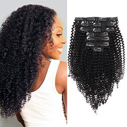 AmazingBeauty 8A Real Human Hair Clip in Extensions Kinkys C