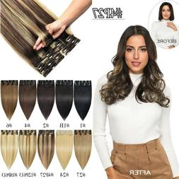 8Pca 18Clips Clip In 100% Real Remy Human Hair Extensions Fu