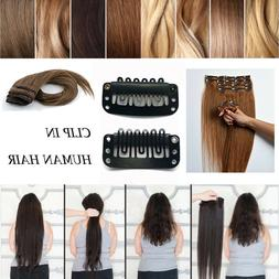 8pcs 100% Remy Human Hair Clip In Human Hair Extensions Full