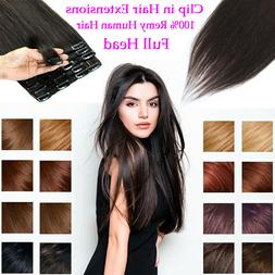 "8pcs 18 clip 8""-24"" Clip In Human Hair Extensions 100% Real"