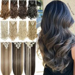 8Pcs Clip In Hair Extensions Full Head Natural As Human Real