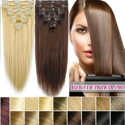 8PCS Full Head 100%Remy Human Hair Clip In Extension 75g~140