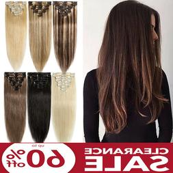 8pcs Smooth Soft Clip In Real Human Hair Extensions Full Hea