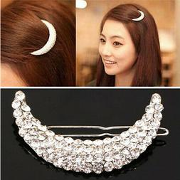 Womens Beauty Crystal Moon Hair Clip Jewelry Rhinestone Head