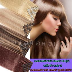 AAAA+ 100% Remy Hair Clip In Human Hair Extensions Double We