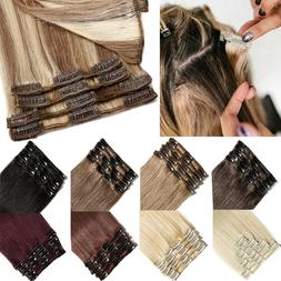 AAAAA+ Clip In Real Human Hair Extensions Full Head Remy 18C