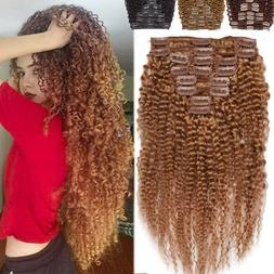 African Afro Kinky Curly Hair Clip In 100% Human Hair Extens