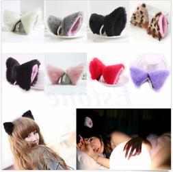 Anime Neko Hair Clip Cosplay Halloween Party Cat Fox Ears Lo