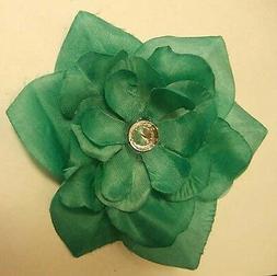 AQUA GREEN FABRIC FLOWER HAIR CLIP with Rhinestone Wedding G
