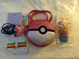 Assorted Girls Items Plush bag, hair clip, hair elastics and