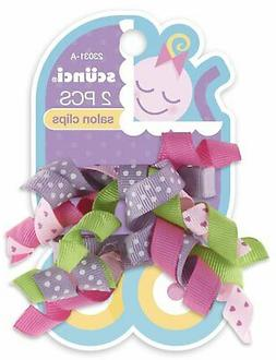 baby curly ribbon hair bow clips 2