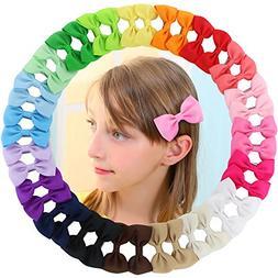 """20 Pair Baby Girl 3"""" Grosgrain Ribbon Boutique Hair Bows All"""