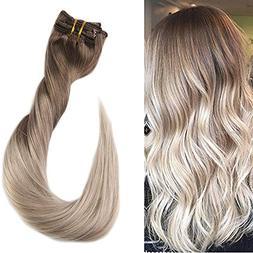 """Fshine 18"""" 100gram 10 Pcs Balayage Clip Hair Extensions Real"""