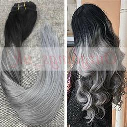 Balayage Ombre Clip in Hair Extensions Remy Human Hair Silve
