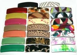 Barrette Long Rectangle Pattern Print Plain Color Hair Clip