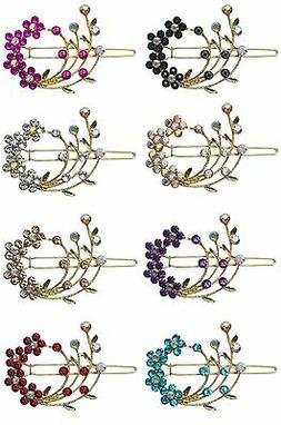 Barrette with Snap-On Hair Clip and Sparkling Stones for Thi