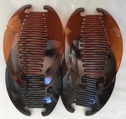 Black Brown Jumbo Banana Interlocking Jaw Comb Clip Thick Ha