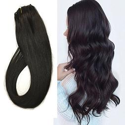Black Clip in Hair Extensions Human Hair Clip on Extensions