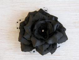 Black Flower Hair Clip / Day of Dead / Halloween / Black Flo