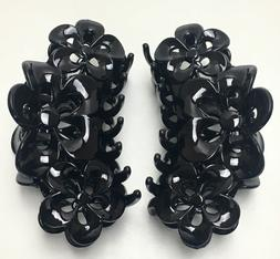 BLACK Large Hair Jaw Clip Claw Clamp 5 inches 2 Pack Strong