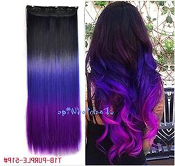 Black to Purple to Grape Purple Three Colors Ombre Hair Exte