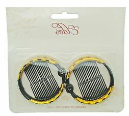 BLACK RING COMB HAIR CLIP MEDIUM SIZE 2PC