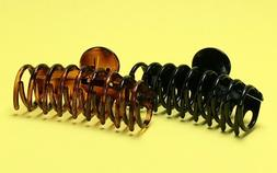 BLACK/TORTOISE-BROWN MEDIUM Hair Jaw Clip Claw Clamp 3 3/4 i