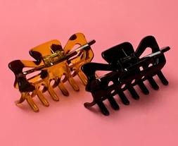 BLACK//Tortoise Brown Medium Hair Jaw Clip Claw Clamp 3 3//4 inches 2 Pack