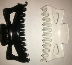 BLACK WHITE  Extra Large Hair Jaw Clip Claw Alligator 5&1/2""