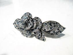 blue crystal hair barrette clip bridal clip