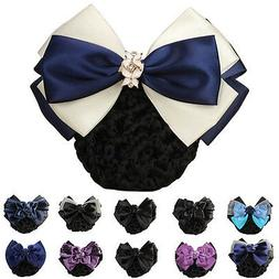 Blue Flower Bow Hair Clip Snood Net Barrette Bun Cover for L
