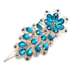 Blue Flower Hair Clip Clamp Metal Alligator Claw Bling Cryst