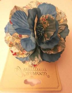 BLUE Printed  FABRIC Flower HAIR CLIP with STAMEN Wedding Ge