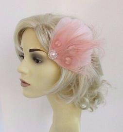Blush Light Pink Silver Feather Fascinator Hair Clip Races W