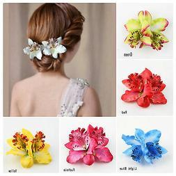 Bohemia Orchid Flowers Hair Clip Pins Hawaii Hawaiian Party