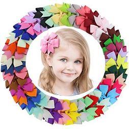 Fortop Baby Girls Boutique Grosgrain Ribbon Pinwheel Hair Bo
