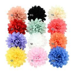 12PCS Baby Girls Bows Chiffon Flower Hair Clip Girls Toddler